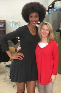 Shamicka Benn poses with Leann Dickson, her Bearden High School theatre teacher. Shamicka visited theatre students while in town for Chicago the Musical.